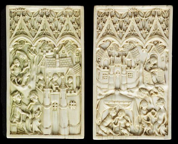 Waxed Tablet Ivory, carved covers