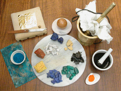 Making medieval pigments for illuminated manuscripts